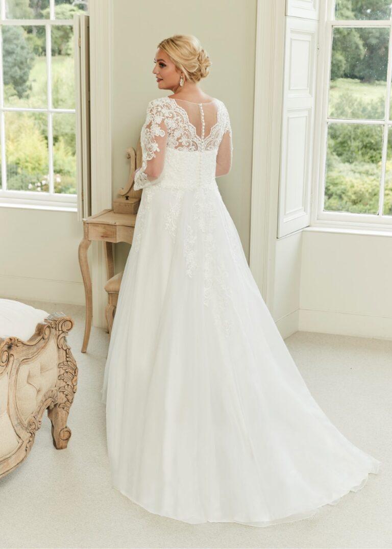 A line Wedding Dress a v neckline