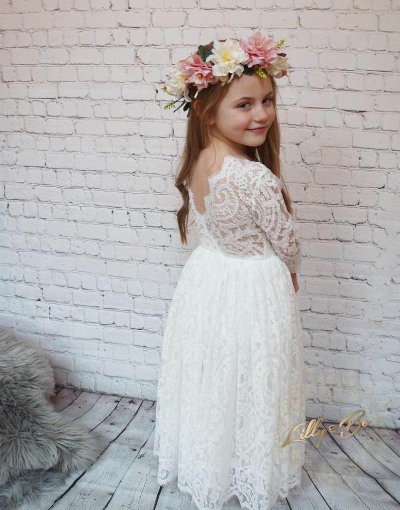 Evelyn Ivory Flower Girl Dress
